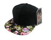 Custom Embroidery Floral Black Hat Snapback Flower Rose Pink Purple White