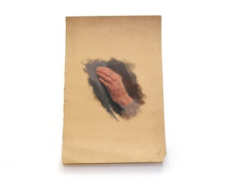 Antique Oil Painting on Paper - Hand Study