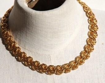 Gold Love Knot Choker Statement Necklace Sheppard Hook Adjustable Length Rosettes