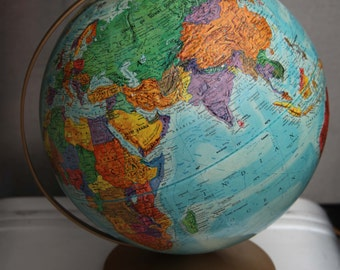 Vintage GLOBE WORLD NATION Series Replogle 12 Globe Raised Topography Colorful with Bronze Color Metal Stand