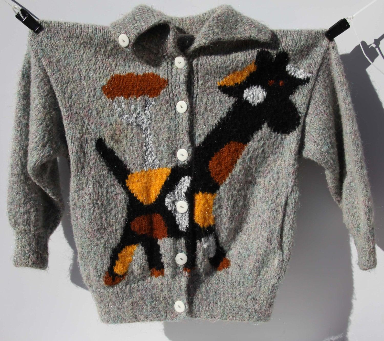 Giraffe Knitting Pattern Jumper : Vintage Sweater Spotted Giraffe Serengeti Iridescent Grey Knit