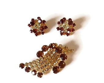60's Earrings & Brooch Rhinestone Set