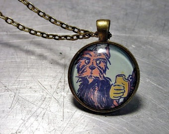 WIZARD of OZ  Pendant  TOTO Toast  Brass Necklace Rare 1903 Illustration