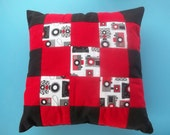 patchwork black red pillow cushion retro camera