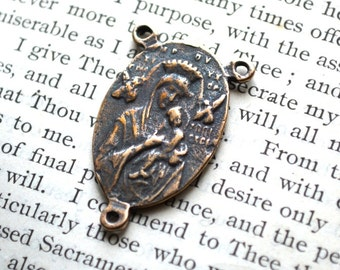 """Our Lady of Perpetual Help and Sacred Heart of Jesus Rosary Center - 1"""" - Bronze - Vintage Replica (R-1152)"""
