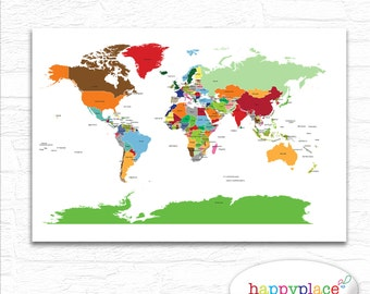Childrens Map Etsy - The world map with labels