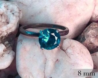 Blue Zircon Ring, Promise Ring, December Birthstone, Silver Solitaire with Blue Zircon Gemstone, Engagement Ring, Bridesmaids Gifts