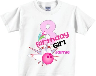 8th Birthday Shirts and Tshirts with Bowling Tees