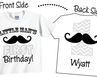 Little Man's 1st Birthday Shirts with Mustache in Gray and White