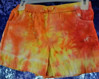 Youth SIZE 14/16 Tie-Dye Shorts in Sunburst/Circle Shibori - White, Orange, Yellow, & Red
