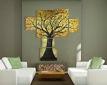 Extra Large Tree Painting of Modern Tree of Life - Huge Contemporary Multi Canvas Painting, Large Acrylic Artwork / Wall Art - Over 5 Feet !