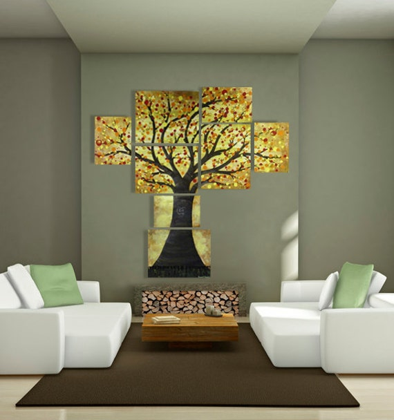 Large Multi Canvas Tree Painting W Abstract Orange Red Yellow