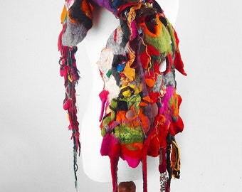 Felted Scarf  Wrap Scarve Felt Nunofelt Nuno felt Silk Silkyfelted Eco shawl Fiber Art