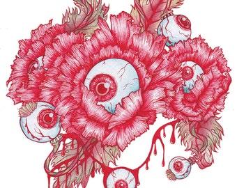 Eyeblossom - Eyeball Poppy Bizarre Floral Art Print