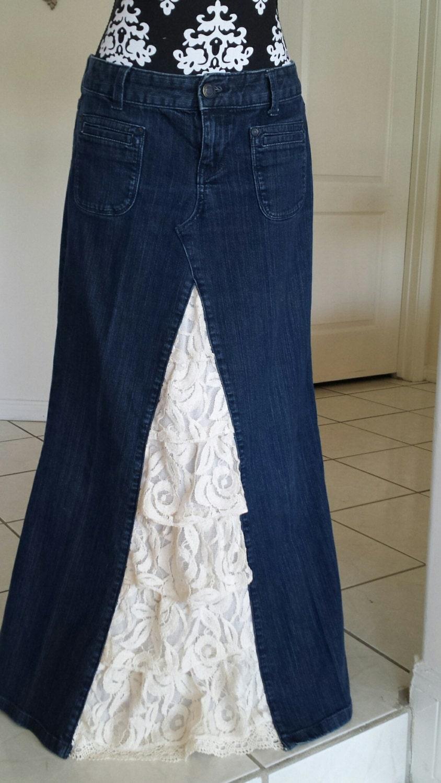 wonen s denim skirt with lace insert