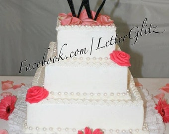 Black Bling Monogram Cake Toppers