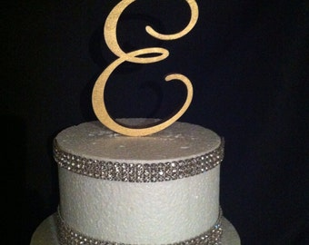 FREE Shipping in US! Painted Single Monogram Cake Topper. Gold Cake Topper. Silver Cake topper. Wedding Cake Topper. Birthday Cake topper.