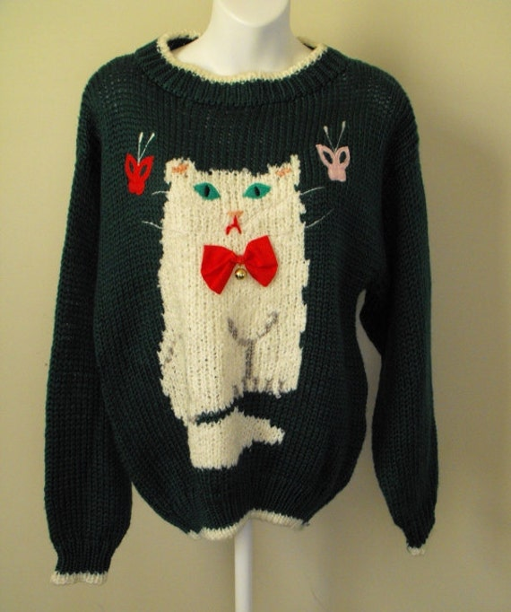 Handknit Acrylic 80's Kitty Cat Sweater Green Medium