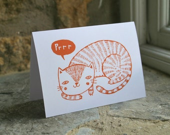 Illustrated 'purr' CAT blank card in orange and white.  Printed on FSC accredited card.
