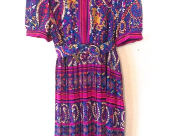 plus size dress XL purple dress vintage 80s purple dress paisley dress 1980s 80s dress dress size 16 vintage dress xl belted dress