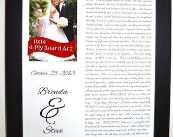 Anniversary Vow Renewal Art Gift Photo Picture Opening Script Names Words Date Poem Letter To Boyfriend Elegant Custom Wedding Vow Wall Art