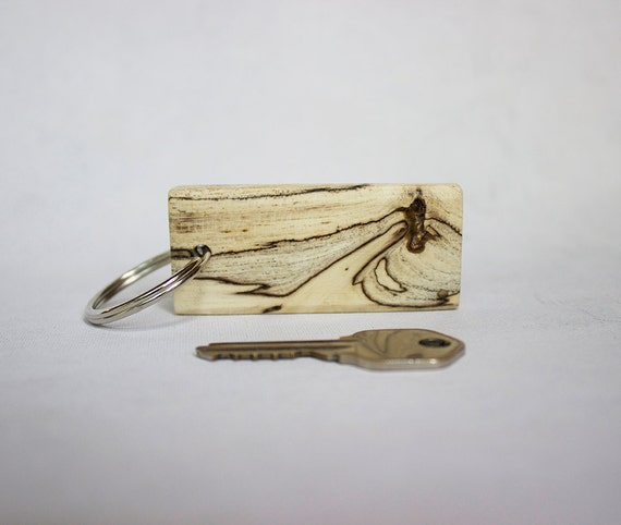 Spalted beech wood key chain hand shaped wooden keychain