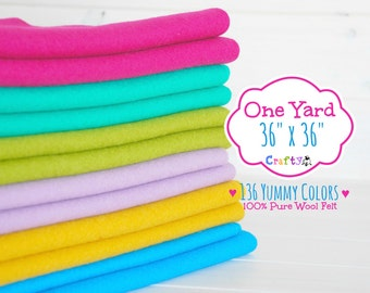 "1 Yard - 100%  Merino Wool Felt by the Yard - 36"" X 36"" - You Choose your Color - One Yard of Felt - Wool Felt Fabric - Felt by the Yard"