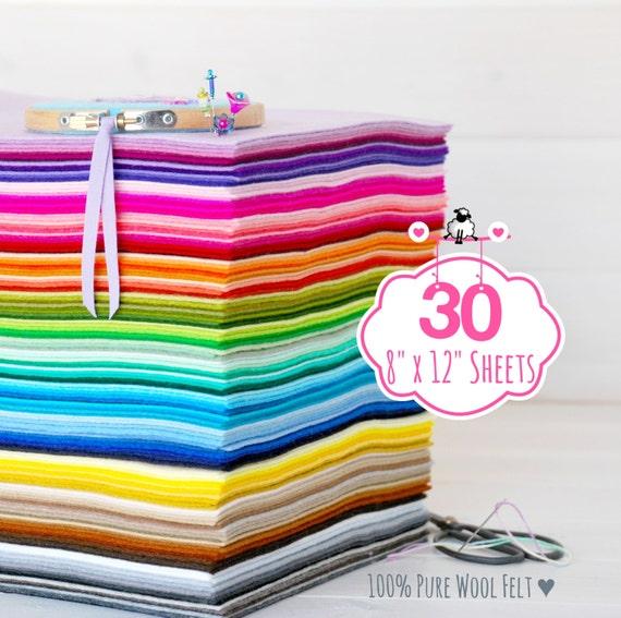 "100% Wool Felt Sheets - 30 Sheets of 8"" X 12"" - Merino Wool Felt - Pure Wool Felt - 30 Wool Felt Sheets - You Choose your Colors"