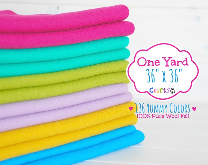 "Featured listing image: 1 Yard - 100%  Merino Wool Felt by the Yard - 36"" X 36"" - You Choose your Color - One Yard of Felt - Wool Felt Fabric - Felt by the Yard"