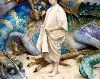 Boy and MAGNIFICENT DRAGON!  Fairy Tale  Vintage Digital Illustration. Digital Printable Image Download. Digital Print.