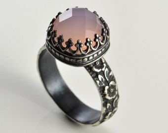 Pink Chalcedony Ring in Sterling Silver, Faceted Cushion Pink Chalcedony Stone in Crown Setting