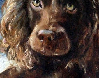 """PRINT Boykin Spaniel Dog Face Art Print of oil Painting Gift / Mary Sparrow of Hanging the Moon """"RED BALL"""""""