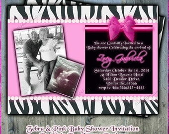 Zebra & Pink Baby Shower Invitation