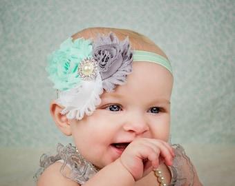 Mint and Gray Baby headband, Shabby chic Headband, Baby headbands, Baby girl headband, toddler headband
