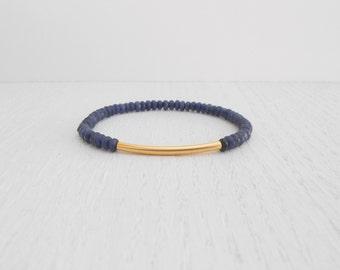Gold tube bracelet, Dark blue bracelet, Jade bracelet, Beaded stretch bracelet