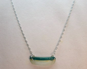 Ancient Roman Glass Blue Shard and Sterling Silver Necklace