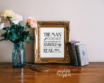 Quote Print, printable art, books, wall decor, library funny inspirational quotes, digital typography Printable Wisdom
