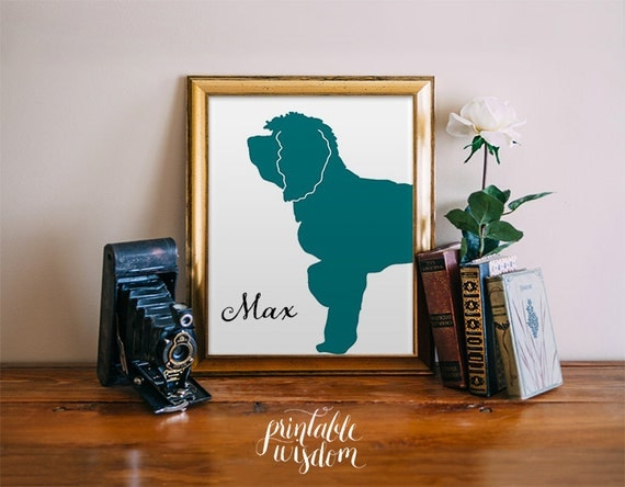 Custom Pet Silhouette portrait, personalized wall art decor poster, digital Printable Wisdom