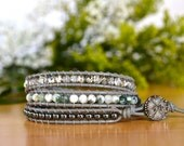 Sparkling Tree Agate and Hematite 3-wrap Bracelet