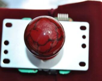 "Custom Hand Made Arcade Stick Joystick Sanwa Ball Top Brand New ""Real Stone"" Line Burgundy Marble ""The Blood Stone"""