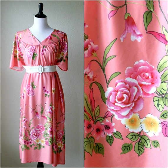 1980's Vintage Pink Hawaiian Loungewear Dress / Large / Extra Large