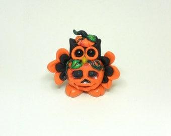 Cute halloween pumpkin polymer clay owl figurine