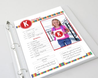 First Day of School Memories Scrapbook Pages and Photo Cards -- Primary (Digital Download)