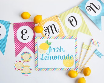 Lemonade Stand Printables - Signs, Banner, Straw Flags, and Party Circles - INSTANT DOWNLOAD