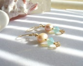 Dangle, Drop Beaded Earrings with Pacific Opal and Smoky Topaz Swarovski Crystals and Mauve Potato Pearls with Gold Findings for Spring