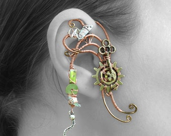 Copper Cogs and Key Wire Wrap Ear Wrap - Right Ear
