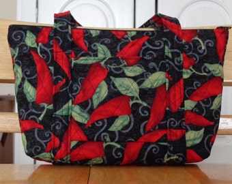 Black Red Chili Pepper Green Leaves Print Quilted Purse