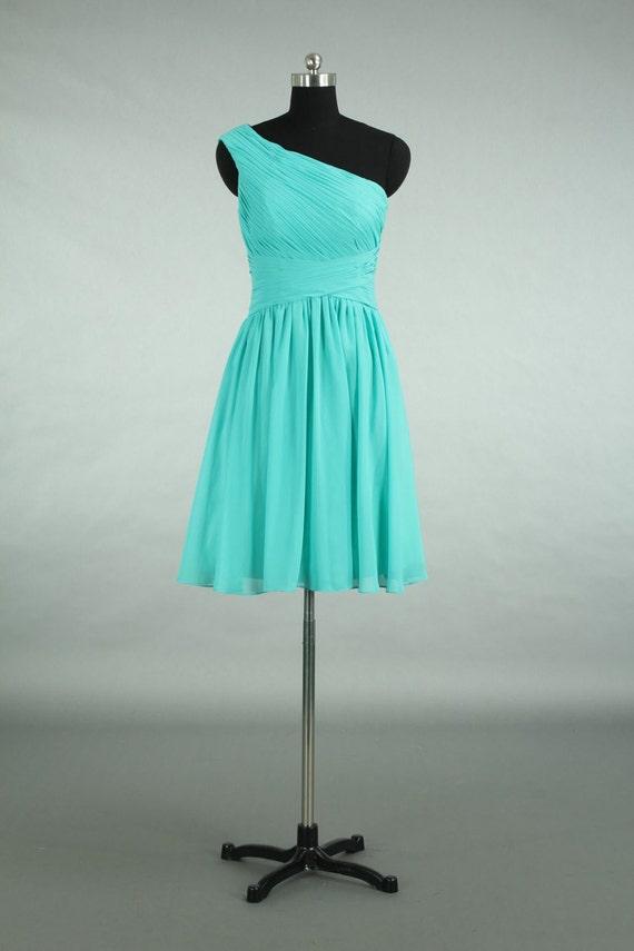 Custom made bridesmaid dress turquoise chiffon bridesmaid for Turquoise and white wedding dresses