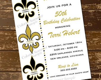 Black and Gold Fleur De Lis Invitation, Birthday, Who Dat, New Orleans, Party, Saints Invitation, Foorball, Tailgate, Fleur De Lis Invite
