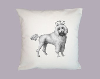 Poodle, Standard Poodle, Royal Poodle with Crown Illustration  HANDMADE Pillow Cover  16x16 - Choice of fabric